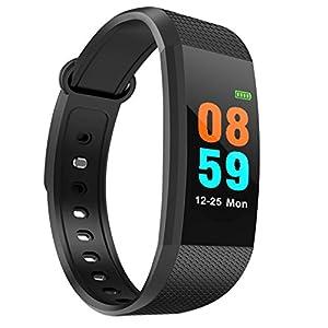 prettygood7 I9 Smart-Armbanduhr, Herzfrequenz, Blutdruck, wasserdicht, Schwarz