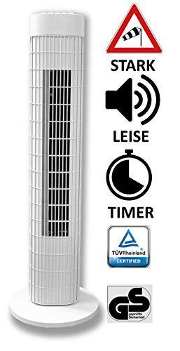 Ventilator Säulenventilator Turmventilator 76cm, 3 Stufen Standventilator, Oszillierender Bodenventilator,mit Timer, 45 W, weiss