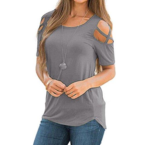 IMJONO T-Shirt Frauen Sommer Kurzarm Riemchen Cold Shoulder Tops Blusen (EU-40/CN-L, X2-Grau) (Western Shirt Vintage Bestickt)