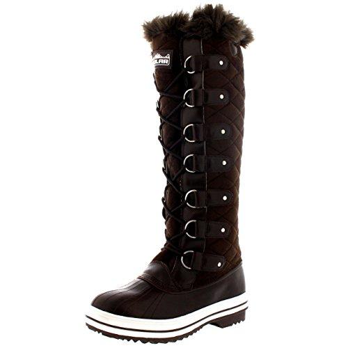 Damen Quilted Knie Hoch Ente Pelz Gefüttert Regen Schnüren Dreck Schnee Winter Stiefel - Braun Wildleder - BRS40 AYC0046 (Stiefel Winter-hohe Wildleder Braun)
