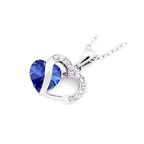 NEVI Heart Fashion Crystals From Swarovski Rhodium Plated Pendant Jewellery for Women & Girls (Blue & Silver)
