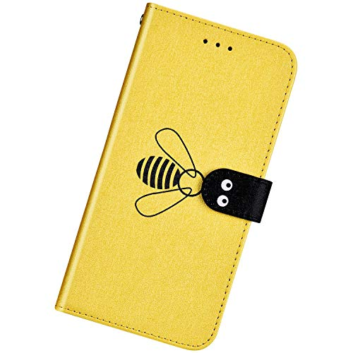 Urhause Kompatibel mit Xiaomi Redmi Note 6 Pro,Ultra Slim Feine Linien Hülle Schutzhülle Bienen Muster Brieftasche Ledertasche mit Standfunktion Karten Slot Magnetverschluß Stoßfest Handyhülle,Gelb