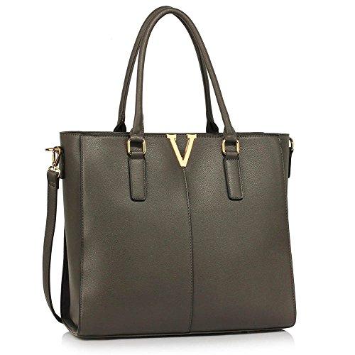 TrendStar Damen Entwerfer Schultertasche Damen Berühmtenart Kunstleder Handtaschen A - Grau