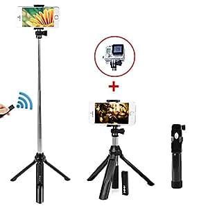 Taotuo Selfie bâton selfie Trépied sans fil, Déclencheur à Distance Bluetooth pour iPhone, Samsung et d'autres Smartphones