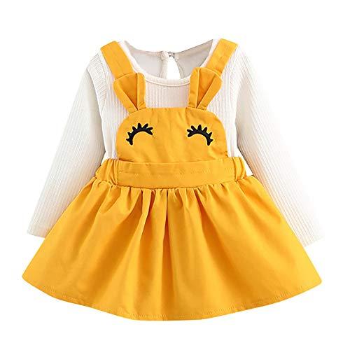 squarex 0-3 Years Old Baby Clothes, Autumn Baby Kids Toddler Girl Cute Rabbit Bandage Suit Mini Dress (0-6Months, Yellow (Eyelash))