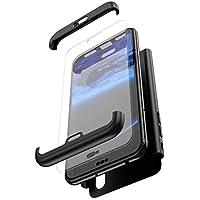 Robinsoni Funda Compatible con Huawei Honor 10 Lite Funda de PC híbrida 360 Grados Protección Case + Pantalla de Cristal Templado 3 in 1 Anti-Arañazos Carcasa Silicona Case Teléfonos Móviles Negro