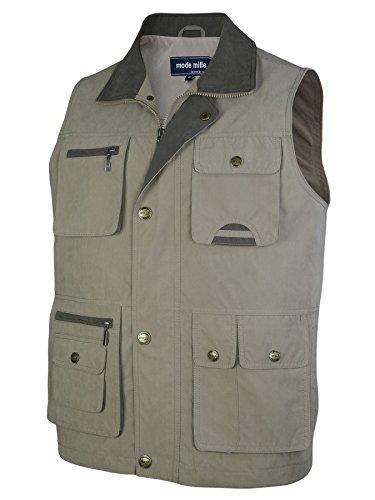 MIAN-MODE Herren Weste Outdoor Funktions-Weste Multi Taschen-Dunkelbeige-3XL (Mode Herren Weste)