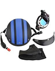 Casque Vélo VTT VTC Bicyclette Helmet Bleu + Visière + Goggle + Tour de cou