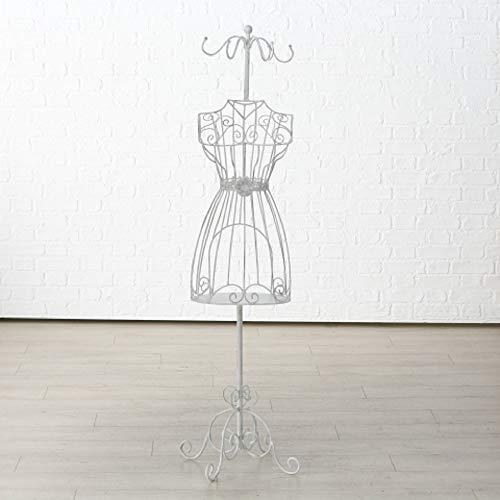 Home Collection Maison Rangement Organisation Penderie Manteau Mannequin Silhouette Femme en Fer Forgé Blanc H 151 cm