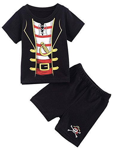 Mombebe Baby Jungen 2 Stücke Piraten Kostüm Shirt Sets (0-6 Monate, Piraten)