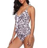 QingJiu Damenmode Print Einteiliger Overall Beachwear Bademode Push-Up Bikini (Weiß, Medium)