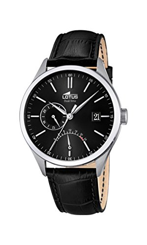 Lotus Men's Quartz Watch with Black Dial Analogue Display and Black Leather Strap 18214/4