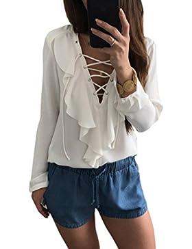 HARRYSTORE 2017 Verano Nuevo Womens Casual V cuello correas manga larga Tops camisa damas suelta blusa camiseta
