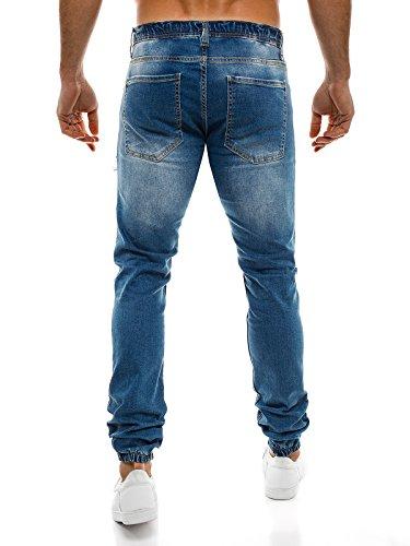 OZONEE Herren Hose Jeanshose Jogginghose Freizeithose Trainingshose Vintage Verwaschen OTANTIK 820 Blau