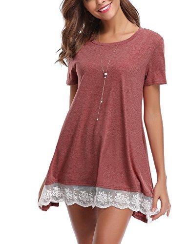 Abollria maglia lunga a manica corta, donna maglietta casual a linea a, abito tunica comoda, camicia da notte vestito di pigiama, taglie forti