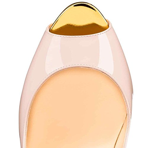 Arc-en-Ciel Frauenplattformschuhe Peep Toe High Heel Nude Gelb