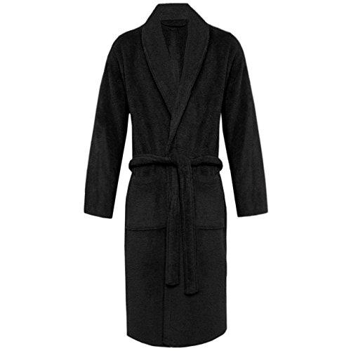 Peignoir classique pour femmes et hommes Taille, nombreuses couleurs à la mode Morgenmantel Saunamantel Coton terry avec capuche de la série Föhr Collier noir