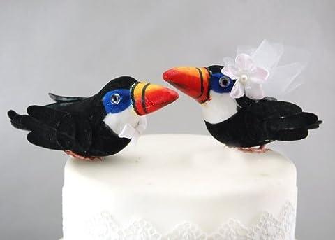 Tropical Toucan gâteau Topper Décoration en noir et orange: Destination Paradise Bird pour gâteau de mariage