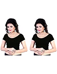 Fressia Fabrics Readymade free Size saree blouse for women party wear Stretchable blouses Combo(Pack OF 2 )