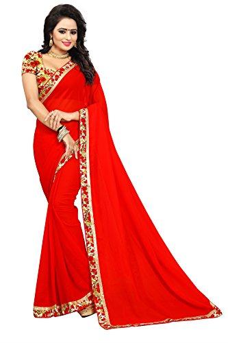 Yashraj Export Women's Georgette, Red colour, Macro floral printed Bhagalpuri bordered Saree(5.5...