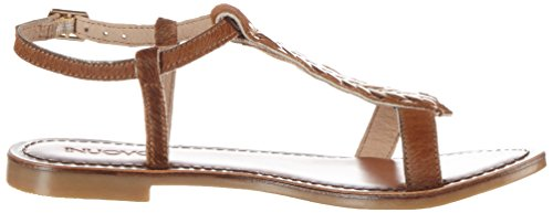 Inuovo Damen 7306 T-Spangen Sandalen Braun (DARK BROWN-GOLD)