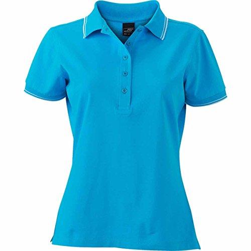JAMES & NICHOLSON Damen Poloshirt, Einfarbig Türkisblau