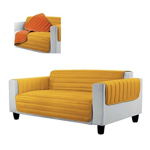 Salvadivano trapuntato copridivano 4 posti elegant - bicolore p940 giallo-arancione