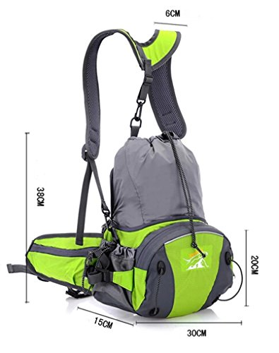 Imagen de 2 en 1 multi funcional riñonera deportiva impermeable para deporte al aire libre  bolsa deportiva bolso del cintura bolso de mensajero con correa alcochada al hombro ajustable  verde