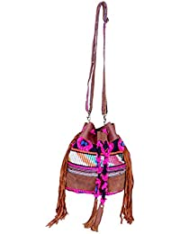 IndiWeaves Women Vintage Handmade Jacquard Leather Handle Cross Body Sling Bag
