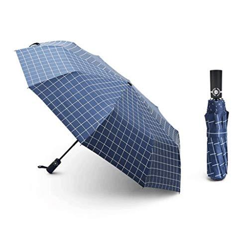 Regenschirm 105cm Schwarz Volltonfarbe Gitter Zehnknochen Automatik Männer und Frauen Doppelter großer dreifach verwendbarer Automatikschirm (Color : Blue)