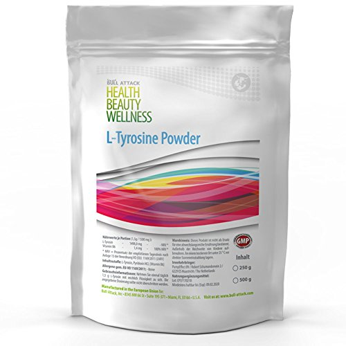 L-TYROSINE POWDER | 250g / 500g / 1000g Pulver | L-Tyrosin + Vitamin B6 | Muskelaufbau + Fettverbrennung + Gehirnleistung | Top Qualität (250g)