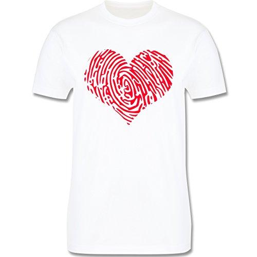 Statement Shirts - Herz Fingerabdruck Rot - Herren Premium T-Shirt Weiß