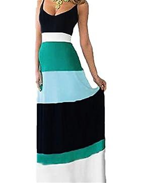 SKY Stitching striped dress Vestido de rayas a costura Vestido de fiesta largo de la tarde del verano de las mujeres