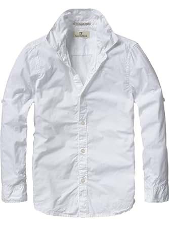 Scotch & Soda Shrunk Jungen Top 12440620500 - longsleeve garment dyed shirt, Gr. 104 (4), Weiß (00 - white)