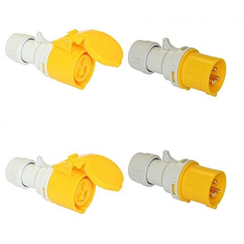 Site Trailing Plug & Socket 16amp 110 Volt 2 Sets 110V 16A PCE Twist lock system