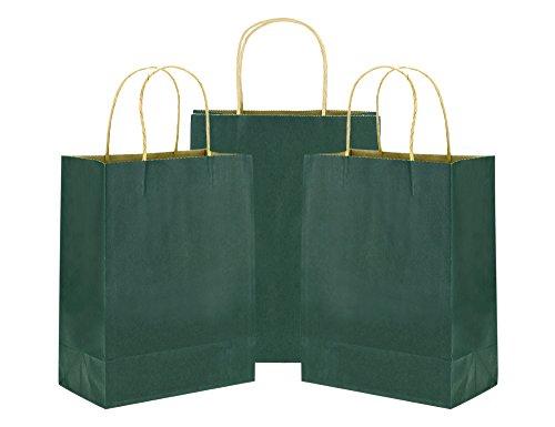tück Kleine grüne Papiertüten Kraftpapier mit verstärkten verdrehten Griffen für Hochzeitsgeschenke, Baby-Duschen, Kunst & Handwerk Projekte, Party, Geschenke, Färbung, Geburtstage, Einkaufen, Einzelhandel Taschen, Papier partytüten (15 x 8 x 21cm / 5.9'' x 3.1'' x 8.3'') (Baby-dusche Handwerk)