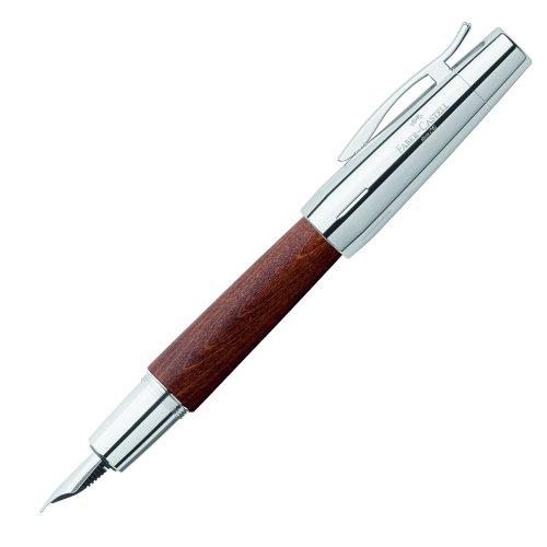 Faber-Castell 148200 - Füllfederhalter e-motion Holz / Chrom, Feder: M, inklusive Geschenkverpackung, Schaftfarbe: braun / silber
