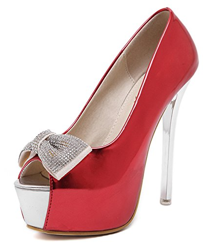 YE , Escarpins peep-toe femme Rouge