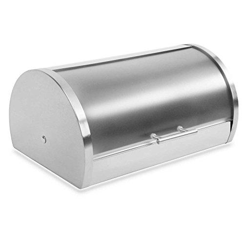 casa pura® Brotkasten Erik | Brotbox mit Gehäuse aus Edelstahl | stilvolle Brotaufbewahrung für zuhause | 37,5 x 28 x 18 cm (Edelstahl Brot Box)