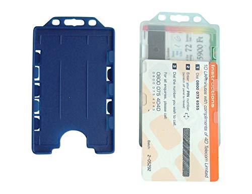 5 unidades de soporte para tarjetas de plástico duro, abierto por un lado, formato vertical, para 2 tarjetas en formato tarjeta de crédito, para fijación en clips, yoyos de identificación o llaveros.