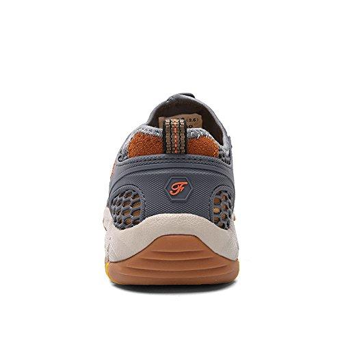 Gomnear Décontractée Chaussures Hommes Été Chaussure Respirant Glisser sur Engrener Mode En marchant Gris