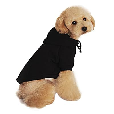 BAO CORE Pet Clothes Apparel Puppy Cotton Plain Colour Cool Fashion Dogs Hoodies Autumn Winter Dog Coat Jacket Hoody Costume With Hat for Small Medium Large Dogs, Black/Grey, S/M/L/XL/XXL
