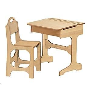Bureau et chaise en bois naturel - style école