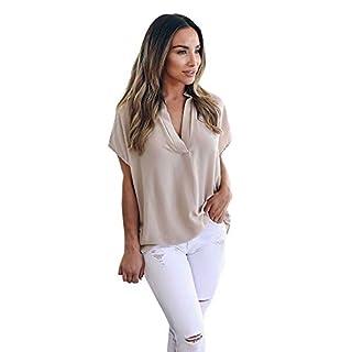 Aiserkly Damen Sommer Chiffon Kurzarm beiläufiges Hemd übersteigt Blusen T-Shirt Tops Khaki S