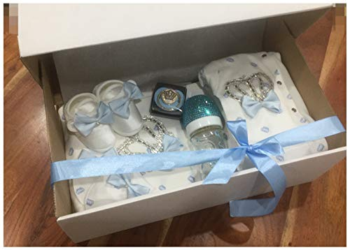 Baby Überraschungs Set Mädchen Junge, Geschenkset, erstausstattung set, box, strass schnuller, strass flasche, 12 Teilig, geschenk geburt, taufe, weihnachten, baby luxus set (Blau)