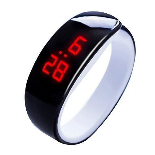 Zolimx Damen Herren Sport Uhr Gummi LED Digital Display Armbanduhr Kinder Studenten Silica Gel Sportuhr (Schwarz 1)