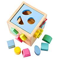 Babe Rock Shape Sorter Toddler Toys for 3 Years Old Boys Girls Classic Wooden Toy Cube Activity Center Color Recognition Shape Sorting Montessori Toys for Babies (Sky Blue)