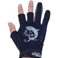 XeibD Guantes de Pesca Antideslizante 3 Dedos Guantes de Corte Caza de Ciclismo Guantes de Medio Dedo Manopla de protección UV de Verano para Hombres