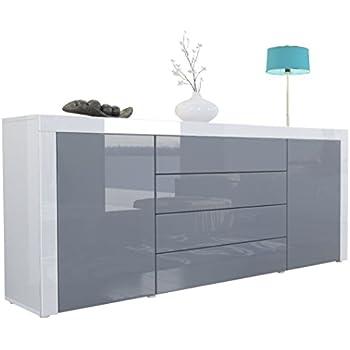 Graues Sideboard sideboard kommode grau lavagrau fronten hochglanz optional led