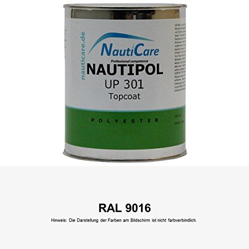 NautiCare NautiPol UP 301 Topcoat 850 g - 35 RAL Farben zur Auswahl - Styrolfreies Polyesterharz - Set mit Harz und MEKP Härter (RAL 9016 Verkehrsweiß)